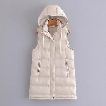 أزياء السيدات جيب بلا أكمام باركا مقنعين معطف سترة طويلة دافئة