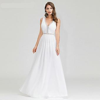A-Linie V-Ausschnitt Langarm Spitzenkleider für Braut