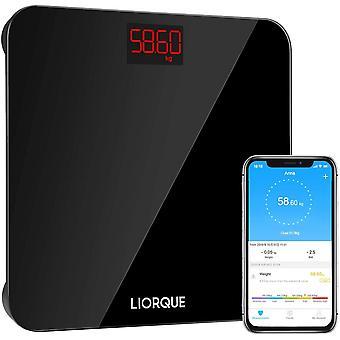 LIORQUE Digital Bathroom Scales, High Precision Body Weighing Scale, 400 lb/180 kg, Black