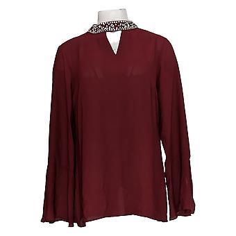 Laurie Felt Women's Top Bell Sleeve Blouse avec collier bijou rouge A308695