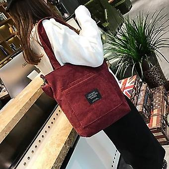 Corduroy Canvas Tote Ladies Casual Shoulder Bag / Foldable Shopping Bags