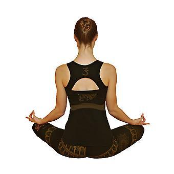 Om sömlös yoga topp - organisk, svart, fukttransporterande
