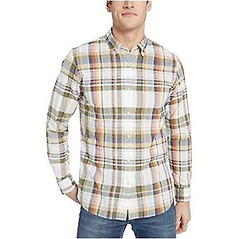 Brand - Goodthreads Men's Slim-Fit Long-Sleeve Lightweight Madras Plaid Shirt, White Olive Plaid, XXX-Large Tall