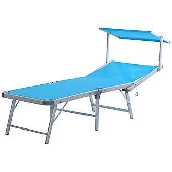 Outsunny Garden Sun Lounger Textilene Chaise Lounge Reclining Chair with Canopy Adjustable Backrest Bed Aluminium Frame - Blue