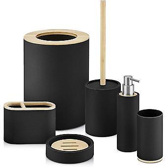 6pc Bathroom Sink Accessory Set With Bamboo Trim - Modern Vanity Organiser Kit - Tumbler, Toothbrush