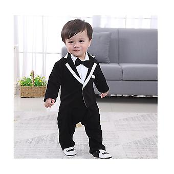 Baby Boy Clothes Long Sleeve Spring Autumn Gentleman Suit Collar Baby Hoodie Jumpsuit Infant Rompers