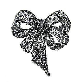 Retro Ladies Brooch Bow Corsage Black Diamond Brooch Pin