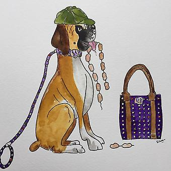 "Hettie art print  "" Anyone seen the sausages  ? """