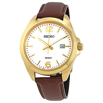 Seiko Neo Classic White Dial Brown Leather Men's Watch SUR216