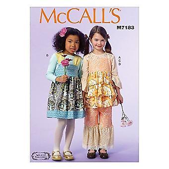McCalls Naaipatronen 7183 Meisjes Childs Tops Broek Jurken Maat CL 6-7-8