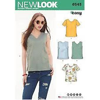 New Look Sewing Pattern 6543 Misses Tops Size 10-22