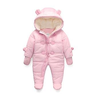 Kış Çocuk Yenidoğan Bebek Kıyafetleri, Sıcak Kapüşonlu, Uzun Kollu, Kalın Kar Tulumları,