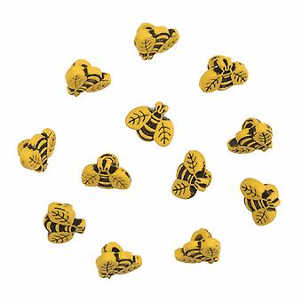 LAST FEW - Pack of 12 Novelty Bee Buttons For Sewing and Haberdashery
