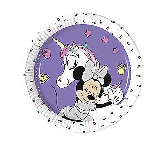 8 Petites assiettes en carton Minnie et la licorne 20 cm