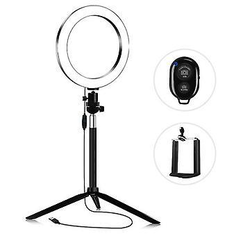 20cm 3200K-5600K Bi-color Dimmable Beauty Light Set Ring Video Light 7W