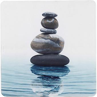 badematte Meditation 54 cm grau/blau