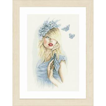 Kit de puntada cruzada contada Lanarte: Mariposas azules (lino)