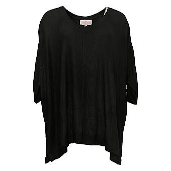 Laurie Felt Women's Top Reg Fuse Modal Ribbed Knit Pullover Black A392627