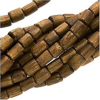 Wood Beads Natural Ruskea Lyhyet Putket 4mm-6mm - 16 tuumaa