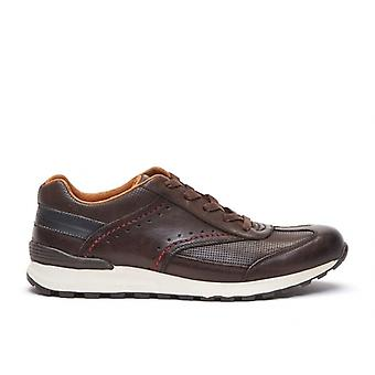 Chatham Diego Mens Leather Lace Up Trainers Dark Brown