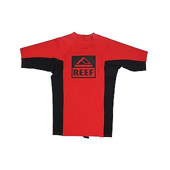 Reef logo Rashguard II korte mouw Rash vest in rood/zwart