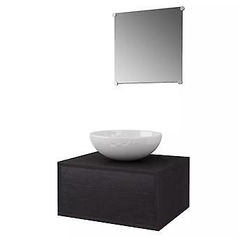 vidaXL 3 kpl. Kylpyhuoneen huonekalut ja pesuallassarja Musta