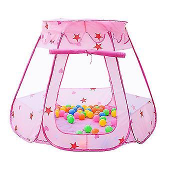 Vaaleanpunainen lasten teltta leikkimökki, suuret taitettavat vauvan lelut az19019