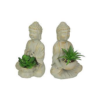 Set of 2 Cement Buddha Statue Succulent Planters Zen Decorations Plant Decor