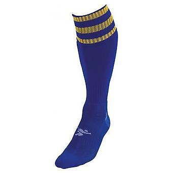 PT 3 Stripe Pro Fußball Socken Jungen Royal/Gold