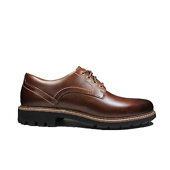 Clarks Batcombe Hall Dark Tan Leather Mens Derby Shoes