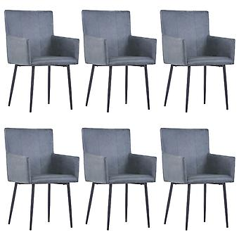 vidaXL dining chairs with armrests 6 pcs. Grey suede look