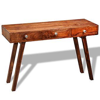 vidaXL konsolbord med 3 lådor 76 cm massivt trä