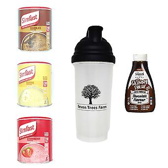 Seven Trees Farm Kit with 5 products | 1 x Choco, 1 x Banana, 1 x Strawberry Shakes, 1 x Shaker and 1 x Chocolate Flavour Syrup, Be skinny and healthy!