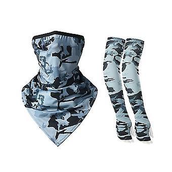 Cycling Ice Silk Ear-hanging Mask  Sun Protection Sleeve Set(Gray)