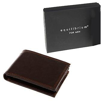 Men's Brown Leather Look Wallet - Gift Boxed