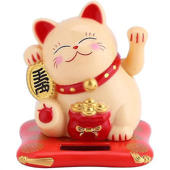 Delaman Maneki Neko Solar Powered Lucky Cat Zwaaien Arm, Fortune Cat (Geel)