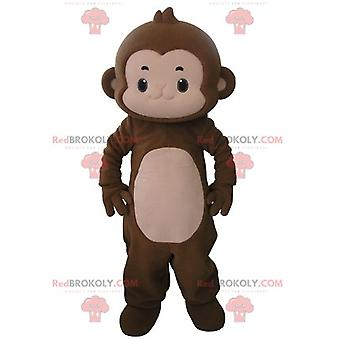 Maskottchen REDBROKOLY.COM braunen und rosa Affen sehr niedlich