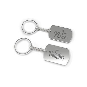 Nice and Naughty Holiday BFF Matching Keychains Christmas Gift for Best Friend