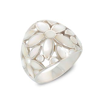 ADEN 925 Sterling Hopea Valkoinen Helmiäinen Kukkasormus (id 4091)