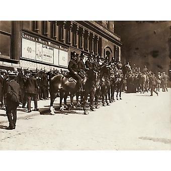 Police guarding Liverpool Station during transport strike. Large Framed Photo. Policemen on.