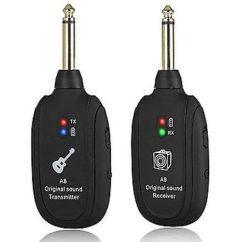 Microphones rechargeable uhf guitar bass wireless system receiver transmitter 50m 4 channels