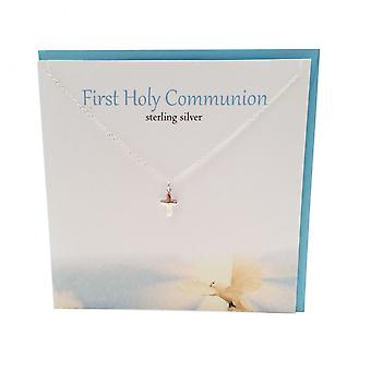 First Holy Communion Silver Pendant Card by The Silver Studio