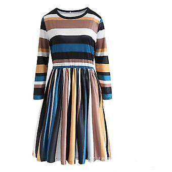 Fashion Multi Stripe Casual Long Blouse Shirt Top One-piece Dress