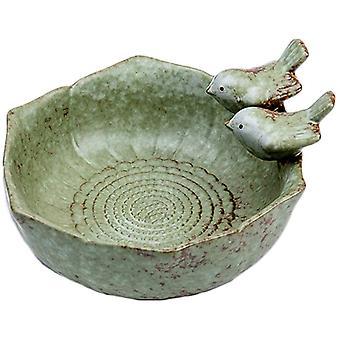 Birdbath Ceramic Bowl Wild Finch Bird Feeder Waterbaths For Outdoor Garden Yard Decor Bee Bird Accessories Green