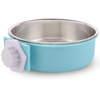 Abnehmbare Hundeschüssel aus Edelstahl, hängender Tierschalenkäfig, kleiner Wassernapf, Tierbedarf, Blau, X