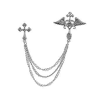 Fashion Set Diamond Angel Wing Cross Deer Head Pin British Suit Chain