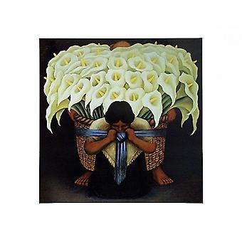 El Vendodor De Alcatraces Poster Print by Diego Rivera (27 x 22)