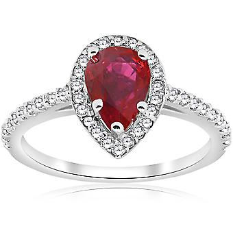 1 1/2ct Pear Shape Ruby & Diamond Halo Ring 14K White Gold