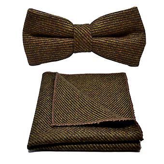 Pelle di squalo marrone Bow Tie & Set Square Pocket