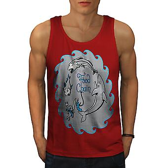 Food Chain Fish Men RedTank Top | Wellcoda